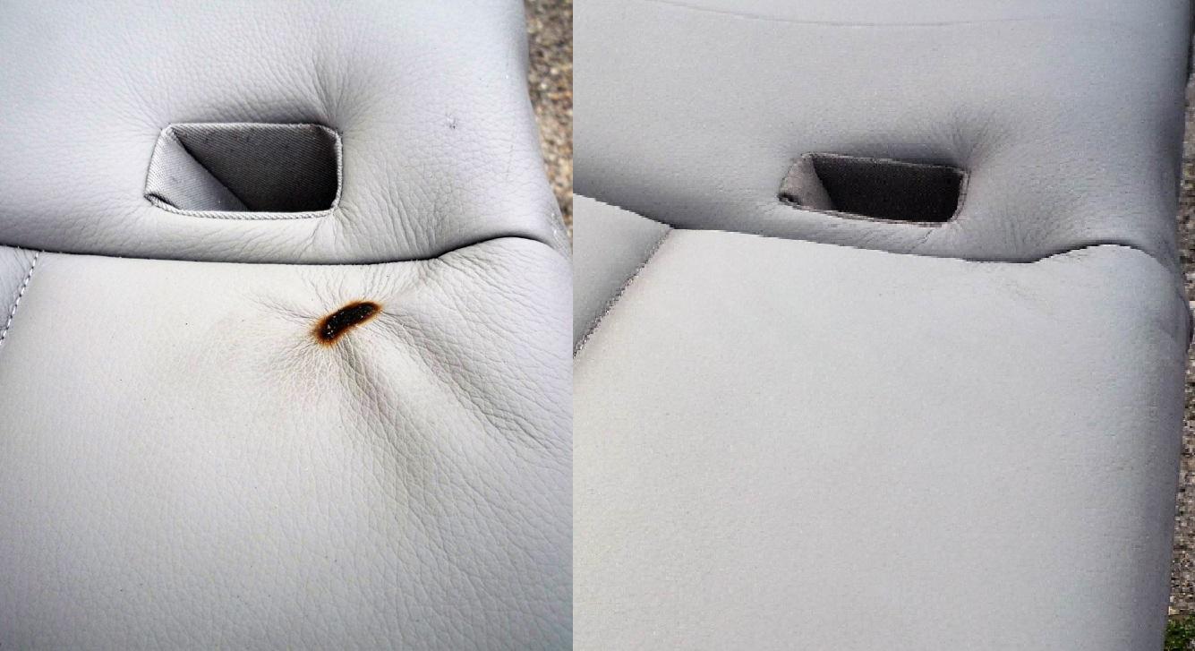 Das Brandloch im Leder wurde perfekt repariert. Der Kunde war erleichtert und zufrieden.