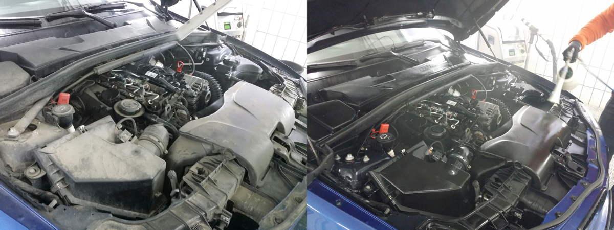 Bei dem BMW wurde eine Trockeneis Motorraum Aufbereitung mit Konservierung durchgeführt.