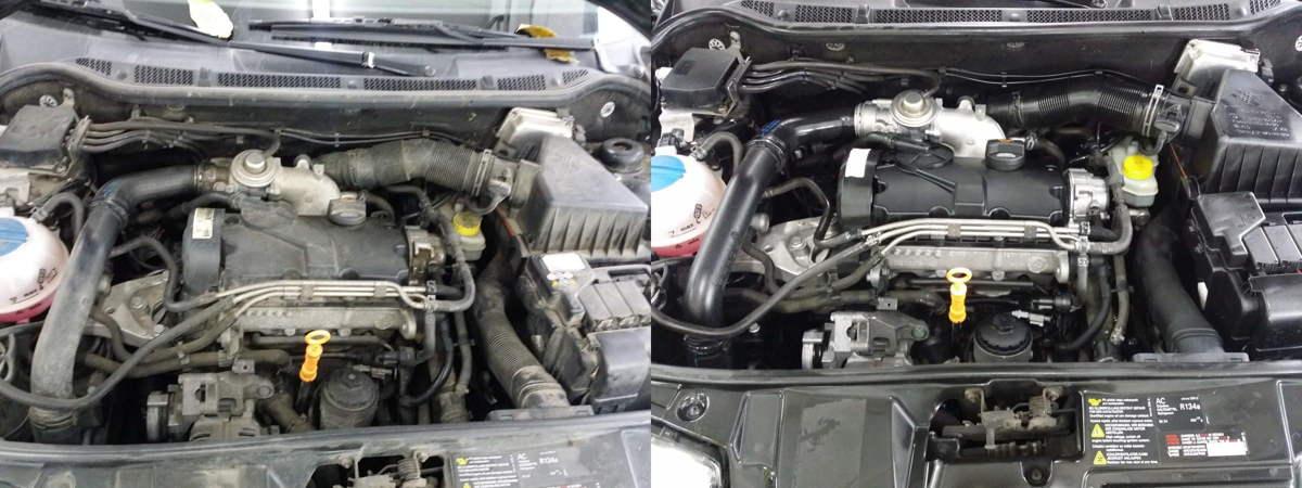 Ein Motorraum vor und nach der Trockeneis Motorraum Aufbereitung.